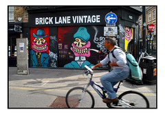 STREET ART by SWEET TOOF (StockCarPete) Tags: sweettoof streetart londonstreetart shutters shutterart toof bricklane london uk urbanart graffiti londongraffiti cyclist bike smoking gums hats