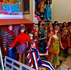 THREE TITIANS (ModBarbieLover) Tags: living 1971 doll barbie mattel mod ken marlo titian fashions dollhouse 70s toy centredeye sideglancer pj