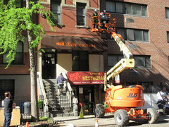 2019 Fake Chinese Food Restaurant for The Deuce 6776 (Brechtbug) Tags: 2019 fake red ruby chinese food restaurant hiding bar for 1970s tv show shoot filming 45th street midtown manhattan west restaurants new york city april spring springtime nyc 04242019 building exterior facade architecture eats foodstuffs cheap now open but flat paper surface possible location 1970 70 70s