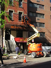 2019 Fake Chinese Food Restaurant for The Deuce 6771 (Brechtbug) Tags: 2019 fake red ruby chinese food restaurant hiding bar for 1970s tv show shoot filming 45th street midtown manhattan west restaurants new york city april spring springtime nyc 04242019 building exterior facade architecture eats foodstuffs cheap now open but flat paper surface possible location 1970 70 70s