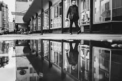 make it double (Zesk MF) Tags: bw black white mono zesk mf cologne spiegelung reflection street candid x100f fuji water puddle mirroring