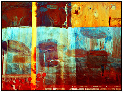 color abstract #15 (Pomo photos) Tags: color colored doubleexposure fujifilm fujifilmx100s fissure surreal surrealism impressionism expressionism red yellow paint abstract abstraction wall details smudge creative photoshop digital blue old