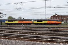 Doncaster (DarloRich2009) Tags: colasrail class56 56049 robinoftemplecombe 56096 colas colasrailfreight doncaster yorkshire southyorkshire doncasterstation doncasterrailwaystation ecml eastcoastmainline