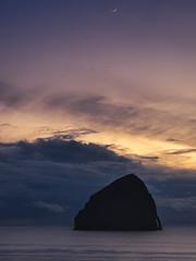 Twilight (Ray Mines Photography) Tags: oregon coast coastline coastal ocean sea rock cliffs water evening twilight moon seascape landscape cape perpetua night spring travel tourism tourist outdoors ngc