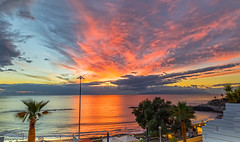 La Gomera Sunset December (nicklucas2) Tags: tenerife costaadeje lagomera travel sunset sea cloud palm streetlight reflection