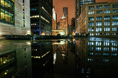 Fun With Puddles (tquist24) Tags: chicago hdr illinois nikon nikond5300 architecture city cityscape downtown geotagged lights longexposure night outside puddle reflection reflections skyscraper skyscrapers urban water