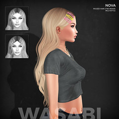 New Nova hair @ Uber! (Wasabi // Hair Store) Tags: 3d mesh hair wasabipills randommatter aviglam izzies maitreya catwa glamaffair kibitz tres blah