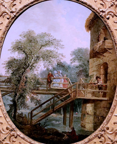 IMG_2050B Hubert Robert 1733-1808 Paris La passerelle The footbridge 1775 Madrid  Musée Thyssen Bornemisza