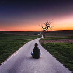 Alone in the middle of nowhere... (Pawelczyk Piotr) Tags: alone nowwhere sun sunset suntise sky bluehour goldenhours tree old road no building meadow man men people sit sitting landscape travel poland poslka sułoszowa nikon d750 nikkor 24120