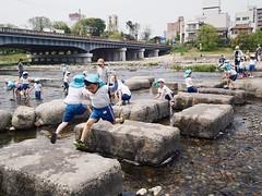 Kamo River 鴨川  (Kyoto Japan) (Wan.L) Tags: オリンパス 子供 川 河川 鴨川 京都 日本 penf olympus view day kids children river kansai kyoto japan