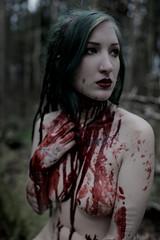 (Liliana Berkvt) Tags: blood portrait outdoor forest darkwoods witch dreadlocks people nude akt alternativmodel darkaesthetic tattoogirl gothic