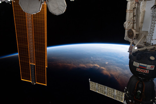 The International Space Station crosses the terminator above the Gulf of Guinea