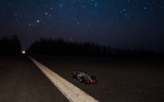 F1 (free3yourmind) Tags: f1 formula pit stop night sky stars starry road forest mclaren