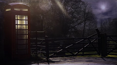 Waiting For The Call (jarr1520) Tags: night sky moon fog mist trees gate fence textured phonebooth road light shadows outdoor