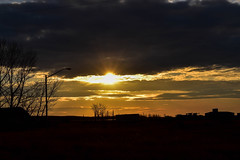 A grey day then there is a golden  sunset (darletts56) Tags: sky blue grey cloud clouds gold golden silhouette black tree trees lamp light lights building buildings field fields road roads sun sunset orange prairie dusk evening fence pole poles post posts farm equipment ray rays storm rain