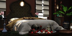 Berry luscious (Alexa Maravilla/Spunknbrains) Tags: 22769 theseasonsstory disorderly shinyshabby minimal ariskea circa pixelmode secondlife sldecor decor decoration sl indoors bed strawberries bedroom home house interior design interiordesign digitalart