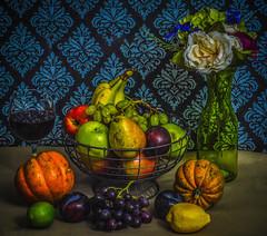 Renaissance Fruits and Vegetables (Beangrau12) Tags: dogwood2019 week17 compositionbalance fruits vegetables flowers vase glass grapejuice background nikon3200 stilllife
