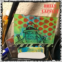Distress Tracy #craft #brianlapsley #make #rubberstamp #comicbook #paint (Brian Lapsley) Tags: share atc cards grunge distress handmade diy carve paint hero comicbook comic popculture pop dicktracy rubberstamp made make color