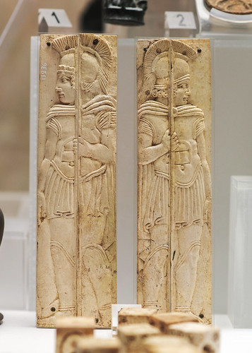 Praenestine ivory plaques with relief decoration of warriors