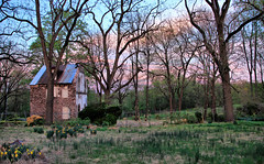 Gone in a flash (Jen_Vee) Tags: mansion pawlings valleyforge old demolished runs audubon parks trees house stone brick iron wetherill boulware green pink blue dusk colors sky farm clearing history pennsylvania gone empty