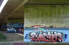 Graffiti under the Winnersh A3290 flyover April 2019 (2) (karenblakeman) Tags: readinggreendrinkswalk loddon berkshire uk april 2019 graffiti bridge a3290flyover river