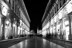 Via Roma in Turin (iz.e) Tags: blackwhite bw street blackandwhite europe city longexposure nikon turin nighttime streetlights motion urbanphotography