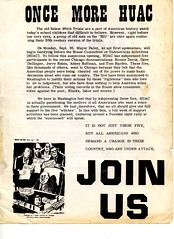 "Flyer charges HUAC conducts 'Salem witch trials"": 1968 (Washington Area Spark) Tags: huac house un american activities committee hearing demonstration protest chicago 8 conspiracy trial democratic convention washington dc district columbia 1968 flyer leaflet"