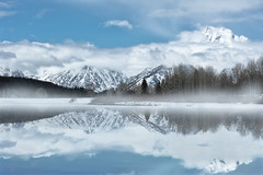 Oxbow Bend (just4memike) Tags: beach blue grand lake mountain oxbow reflection sky snow sunrise teton tree water winter