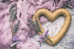 27/30: Lavender and lilac (judi may) Tags: april2019amonthin30pictures lavender hitchinlavender ickleford scarf heart wreath string ribbon flatlay stilllife tabletopphotography canon5d 50mm