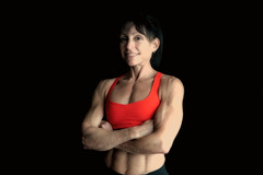 Portrait of a  body builder. (ABWphoto!) Tags: usa virginia gym healthclub fitness model portrait flexing muscles arms chest abs healthy healthylifestyle woman middleaged posing photograph