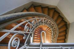 A scary place (Elbmaedchen) Tags: staircase stairs stairwell stufen steps spirale spiral treppenhaus treppenauge treppe treppenaufgang treppenstufen treppengeländer geländer escaliers escaleras interior upanddownstairs downstairs abwärts woodenstairs charité berlin