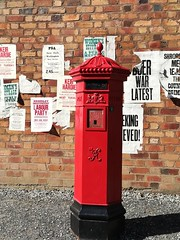 Postbox (daveandlyn1) Tags: brickwall posters postbox redbox victorianpostbox blisthillvictorianvillage footpath smartphone psdigitalcamera cameraphone pralx1 p8lite2017 huaweip8