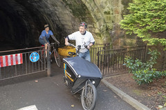 Chicanne Challenge. Cycle route N1 Tunnel1 (Sandy Beach Cat) Tags: pop pedalonparliament n1 bike cycle protest innocent chicane edinburgh uk scotland cargobike trailer