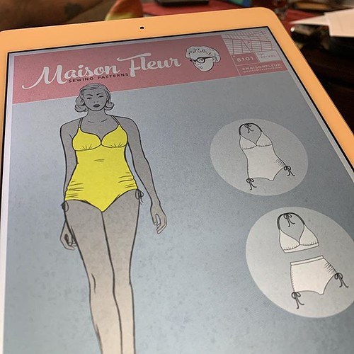 #widn reviewing the #maisonfleur8101 pattern ahead of the swimsuit intensive sewing class I'm taking @workroomsocial next weekend. I worry it won't fit my H cups, but figure that it's a good place to start. I'm already thinking of taking a bra making clas
