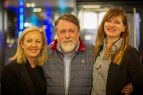 CE19 – guest dinner // Christine Dollhofer (festival director), Vitaly Mansky (dir. PUTIN´S WITNESSES), Alexandra Westmeier (dir. LOST REACTOR) // photo © a_kep / subtext.at
