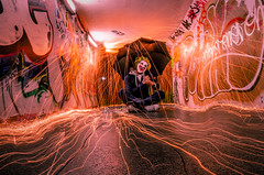 Just a Little bit Twisted (Trigger1980) Tags: steel wool spinning light painting long exposure night photography sparks lawrence hill bristol wire wirewool hate clown nikon nikond7000 nite nuts fire d7000 dark digital underpass subway lighting