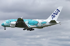 Airbus A380-841 - ANA - JA382A - s/n 263 - Flying Honu - Kai (French Frogs Pix ✈) Tags: avion aircraft plane airplane aviation airliner airbus a380 ana ja382a tortue turtle rollsroyce trent trent900 specialpaintscheme specialcolors japan spiritofjapan honu flyinghonu kai staralliance