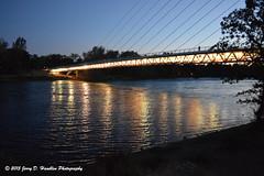 Bridge lights and reflections (Jerry Hamblen) Tags: sundialbridge sacramentoriver sacramento river bridge sundial reddingca lights reflections evening