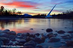 Sundial and Sunset and Rocks (Jerry Hamblen) Tags: sundialbridge sacramentoriver sacramento river bridge sundial reddingca sunset rocks