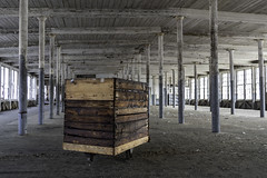 The Sturdy Cart (jessicalowell20) Tags: kezarfallswoolenmill blue brown ceiling decay historic industrial maine newengland northamerica poles sturdycart tan white