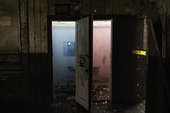 The Loos in Pink and Blue (jessicalowell20) Tags: keezerfallswoolenmill abandoned black blown blue cream historic industriial maine mill newengland pink restrooms white yellow