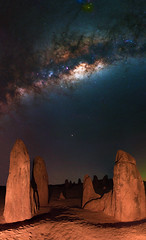 Milky Way at The Pinnacles Desert, Western Australia (inefekt69) Tags: pinnacles desert nambung national park panorama stitched mosaic ms ice milkyway cosmology southern hemisphere cosmos western australia dslr long exposure rural night photography nikon stars astronomy space galaxy astrophotography outdoor milky way core great rift ancient sky 50mm d5500 landscape nikkor prime lens hoya red intensifier filter