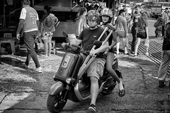 I'll drive today Dear ! (FimRay) Tags: blackandwhite bw monotone thailand thai street streetphotography traditionalstreet motorcycle motorbike accident woman female crutches injured injury rider riding leica m m240 digital 50mm summilux asph f14 people person persons