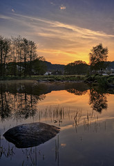 Early morning light, Norrway (Vest der ute) Tags: xt20 haugesund rogaland water reflections mirror rocks trees sky clouds pond earlymorning norway fav25 fav200