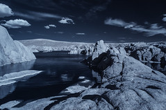 Clouds And Reflection At Watson Lake - Infrared (Bill Gracey 23 Million Views) Tags: watsonlake prescott arizona granite sky clouds water reflections channelswapping infrared infraredphotography ir convertedinfraredcamera nature surreal composition