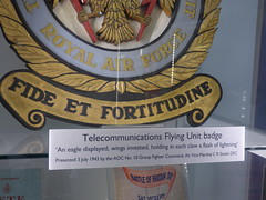 RAF Defford Museum at Croome -Telecommunications Flying Unit badge (ell brown) Tags: croome worcestershire england unitedkingdom greatbritain nationaltrust croomedabitot croomeestatetrust croomepark pershore lancelotcapabilitybrown 6thearlofcoventry rafdefford rafdeffordmuseum sign coatofarms shield telecommunicationsflyingunitbadge royalairforcetelecommunicationflyingunit