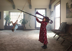 Just another Saturday morning (trois petits oiseaux) Tags: kids twins childhood trombone music circus