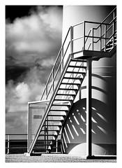 Forbidden stairs (leo.roos) Tags: windmill windmolen windturbine stairs staircase stairway trap shadow schaduw neeltjejansbuitenhaven noiretblanc cz carlzeissprotessar11540 zeissikoncontaflex protessar carlzeiss darosa leoroos 2019