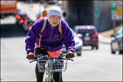 Bank Street Bicycle Commuter (Dan Dewan) Tags: dandewan bicycle bankstreet canonef70200mm14lisusm street canon colour hat man ottawa sunday ontario canada glasses 2019 cyclist bike