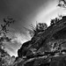 Nearby Walls of a Mountainside with Skies and Clouds Above (Black & White, Big Bend National Park)